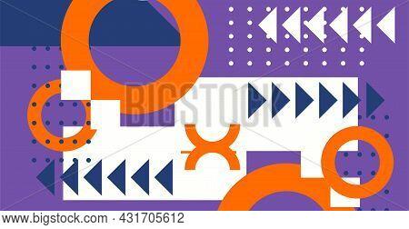 Abstract Geometric Background. Bauhaus, Memphis Minimalist Retro Poster Graphic Vector Illustration.