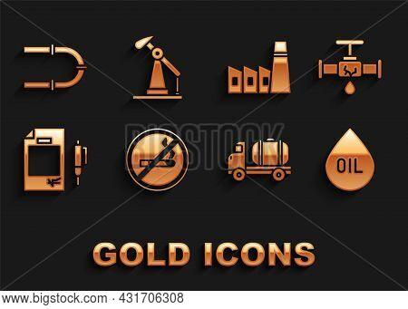 Set No Smoking, Broken Pipe With Leaking Water, Oil Drop, Tanker Truck, Contract Money And Pen, Indu