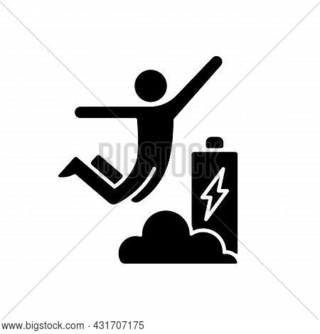 Increased Energy Black Glyph Icon. Motivation Boosts Energy And Productivity. Flow State Of Mind. Fu