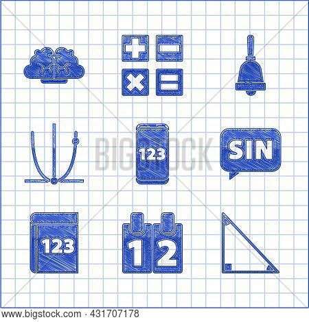 Set Mobile Calculator Interface, Calendar, Triangle Math, Mathematics Function Sine, Book With Word