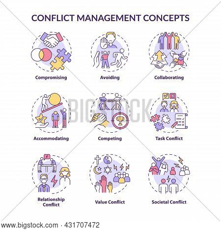 Conflict Management Concept Icons Set. Solving Relationship Issues. Work Relations. Resolving Team A