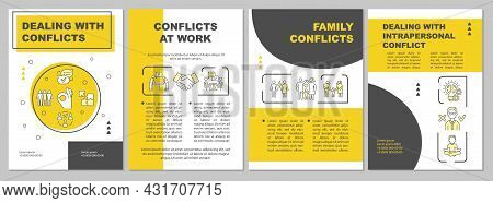 Dealing With Conflicts Yellow Brochure Template. Relations Issues. Flyer, Booklet, Leaflet Print, Co