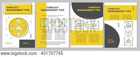 Conflict Management Tips Yellow Brochure Template. Human Relations. Flyer, Booklet, Leaflet Print, C