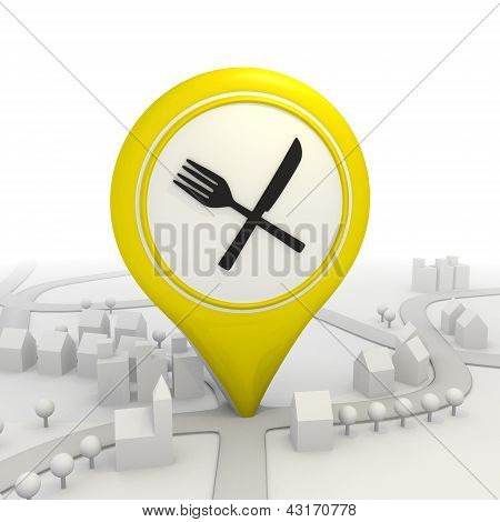 Restaurant icon inside a yellow map pointer