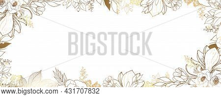 Luxurious Golden Wallpaper. White Background And Beautiful Golden Leaves And Flowers Of Magnolia And