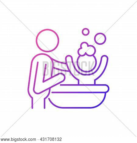 Bathing Child Gradient Linear Vector Icon. Providing Secure Feeling. Skin-to-skin Contact. Bathtime