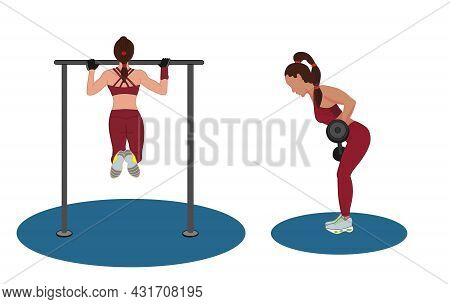 A Young Woman Pulls Herself Up On A Horizontal Bar And Does An Exercise With A Barbell. Strength Tra
