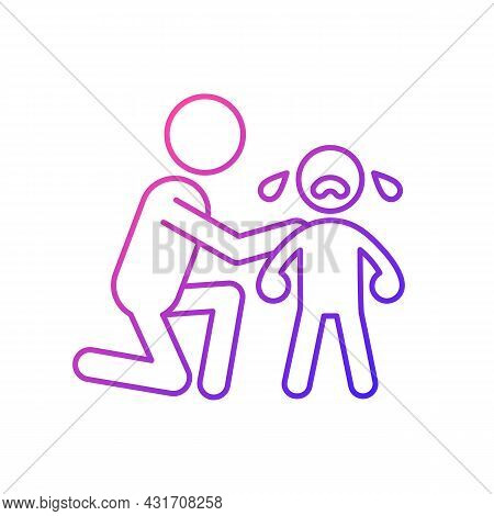 Comforting Crying Child Gradient Linear Vector Icon. Cuddling And Softly Talking To Kid. Showing Emp