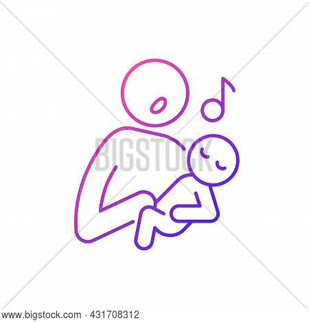Singing To Baby Gradient Linear Vector Icon. Infant-directed Song. Parent Voice. Sing Lullabies To N