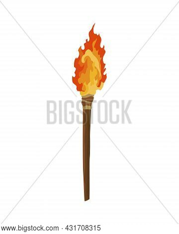 Ancient Age Stone Tool For Hunting Or Work. Cartoon Torch, Prehistoric Caveman Instrument. Vector Il