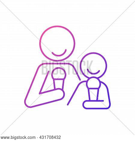 Eating Ice Cream Together Gradient Linear Vector Icon. Increase Family Bonding Over Food. Enjoy Froz