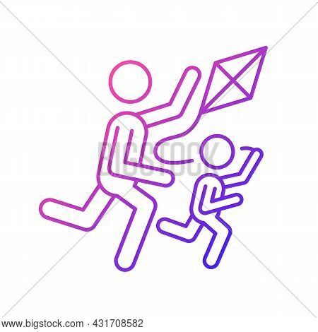 Flying Kite Gradient Linear Vector Icon. Playing With Child Outdoors. Family Bonding. Develop Coordi