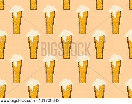 Pixel Beer Seamless Pattern. Glass Of Beer Pixel Art. 8 Bit Mug, Pixel Drinks. Graphic Style Of Vide