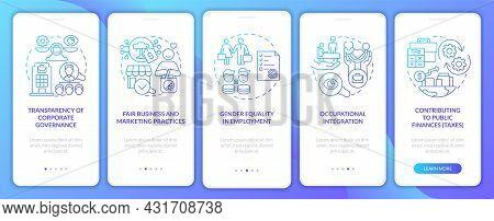 Csr Matters Blue Gradient Onboarding Mobile App Page Screen. Corporate Liability Walkthrough 5 Steps