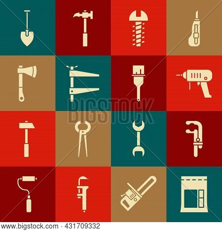 Set Cement Bag, Clamp Tool, Electric Drill Machine, Metallic Screw, Wooden Axe, Shovel And Paint Bru