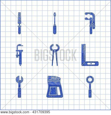 Set Pincers And Pliers, Cement Bag, Wrench Spanner, Corner Ruler, Adjustable Wrench, Calliper Calipe