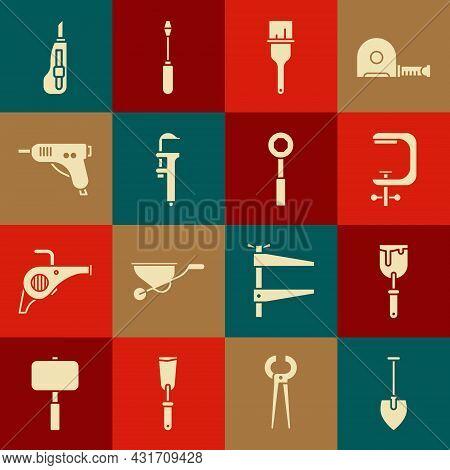 Set Shovel, Putty Knife, Clamp And Screw Tool, Paint Brush, Calliper Or Caliper Scale, Electric Hot