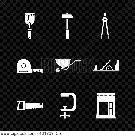 Set Putty Knife, Hammer, Drawing Compass, Hand Saw, Clamp Screw Tool, Cement Bag, Roulette Construct