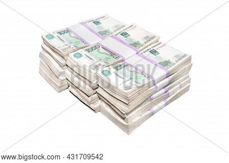 A Big Wad Of Money Russian Banknotes Isolated On White Background. Million Rubles In Russian Rubles