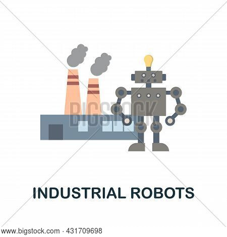 Industrial Robots Flat Icon. Colored Sign From Robotics Engineering Collection. Creative Industrial