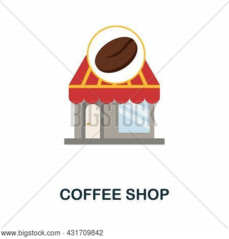 Coffee Shop Flat Icon. Colored Sign From Small Business Collection. Creative Coffee Shop Icon Illust