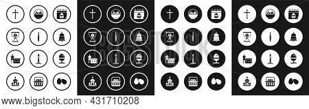 Set Calendar With Easter Egg, Paint Brush, Christian Chalice, Cross, Ringing Bell, Basket Easter Egg