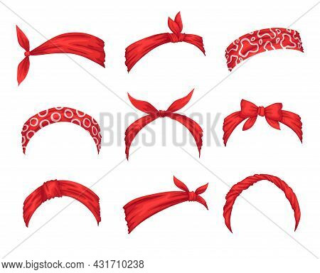 Collection Of Retro Headbands For Woman. Mockups Of Decorative Hair Knott. Red Bandana Windy Hair Dr