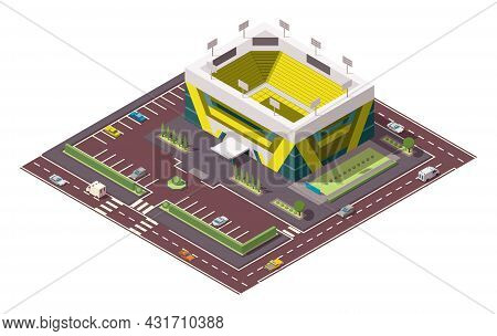 Isometric Sport Arena. Place For Biggest Sport Competitions. Vector Icon Or Infographic Element Repr