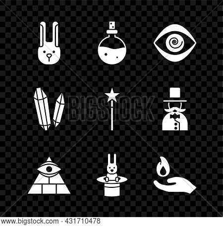 Set Rabbit With Ears, Bottle Love Potion, Hypnosis, Masons, Magician Hat And Rabbit, Hand Holding Fi