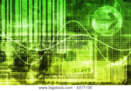 Green Money Technology Business Background as Art poster