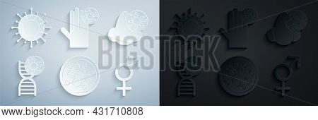 Set Virus, Runny Nose And Virus, Dna Symbol, Gender, Hand With And Icon. Vector