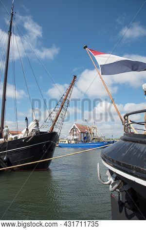 Oudeschild, The Netherlands. August 13, 2021. Details Of Historic Sailing Ships In The Harbor Of Oud