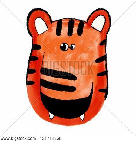 Hand Drawn Illustration Tiger. Kids Watercolor Drawing. Little Tiger, Card. Little Tiger, Card. Deco