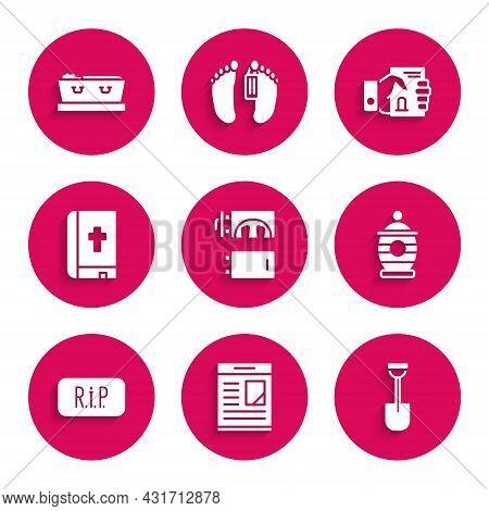 Set Crematorium, Obituaries, Shovel, Funeral Urn, Speech Bubble Rip Death, Holy Bible Book, Death Ce
