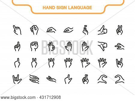 Vector Icon Line And Fill Set. Hand Sign Language Collection: Ok, Rock, Like, Love, Finger, Dislike,