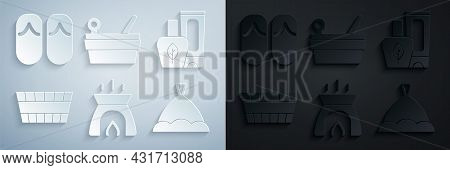 Set Aroma Candle, Ointment Cream Tube, Sauna Bucket, Hat, Ladle And Flip Flops Icon. Vector