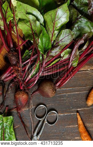 Raw Beetroot With Tops And Carrots On A Rough Wooden Table. Close-up, Top View, Vertical