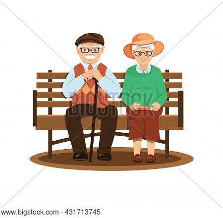 Grandfather And Grandmother With Gray Hair Are Sitting On A Bench. Elderly Man With Glasses. Elderly