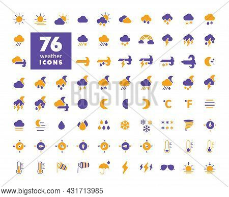 Vector Weather Forecast Glyph Icon Set. Meteorology Sign. Graph Symbol For Travel, Tourism And Weath