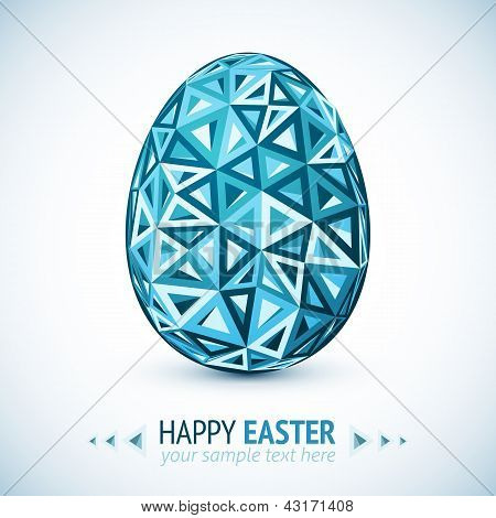 Abstract geometry triangles vector blue easter egg poster