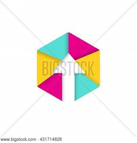 Modern Hexagon Arrow Up Logo Design. Colorful Arrow And Hexagon Digital Logo Concept
