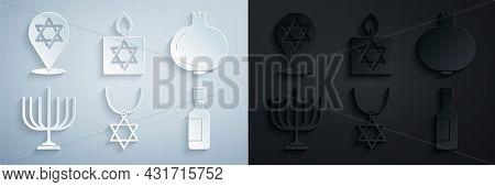 Set Star Of David Necklace On Chain, Pomegranate, Hanukkah Menorah, Jewish Wine Bottle, Burning Cand