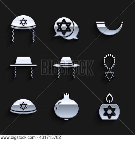 Set Orthodox Jewish Hat, Pomegranate, Burning Candle, Star Of David Necklace On Chain, Jewish Kippah