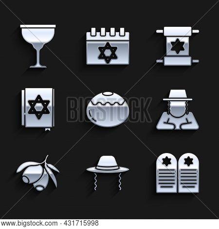 Set Jewish Sweet Bakery, Orthodox Jewish Hat, Tombstone With Star Of David, Olives Branch, Torah Boo