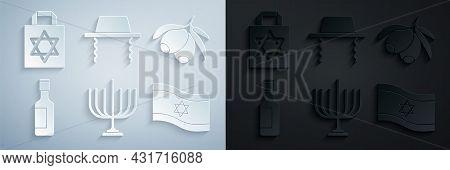Set Hanukkah Menorah, Olives Branch, Jewish Wine Bottle, Flag Of Israel, Orthodox Jewish Hat And Sho