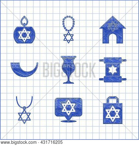 Set Jewish Goblet, Star Of David, Shopping Bag With Star David, Torah Scroll, Necklace On Chain, Tra