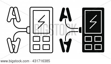 Liner Icon. Digital Multimeter, Device For Measuring Current And Voltage In Electrical Circuit. Simp