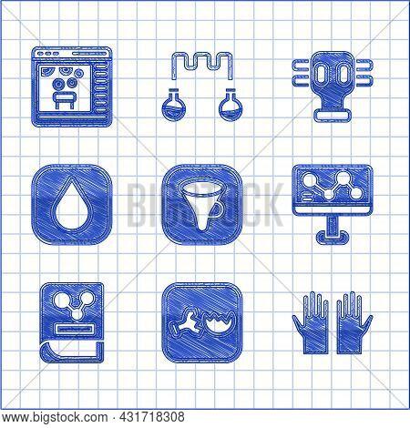 Set Funnel Or Filter, Broken Flask, Medical Rubber Gloves, Chemical Formula, Chemistry Book, Water D