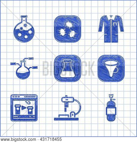 Set Test Tube And Flask, Microscope, Propane Gas Tank, Funnel Or Filter, Chemical Online, Laboratory