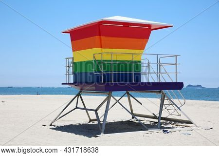 LONG BEACH, California - July 5, 2021: Gay Pride Lifeguard Tower. The rainbow-colored lifeguard tower supports the LGBTQ community.